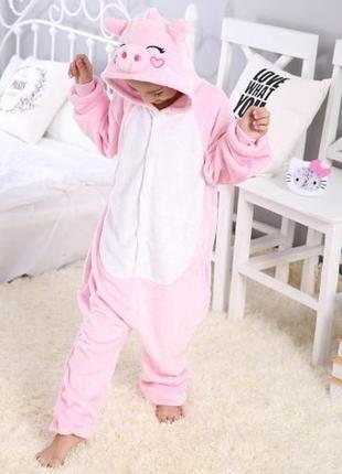 Костюм комбинезон кигуруми детский розовый свинка