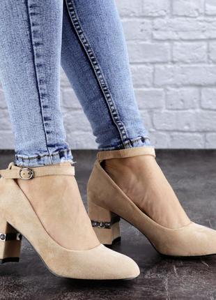 Женские туфли на каблуке бежевые bruno 2086