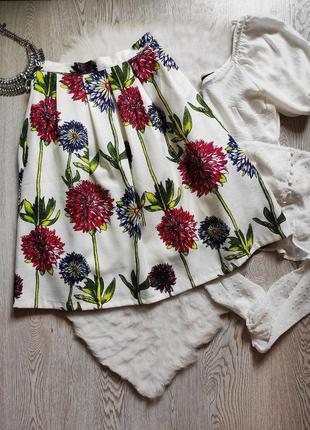 Белая юбка миди длинная цветочный принт рисунок разноцветная колокол трапеция пышная