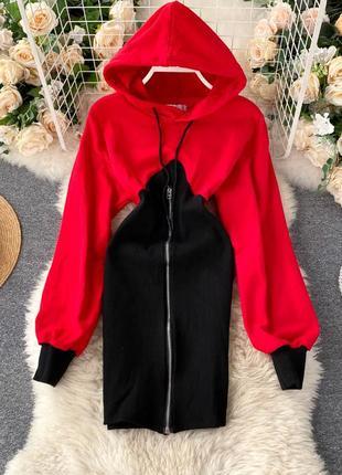 Платье-толстовка красно-черное, платье-трансформер с капюшоном