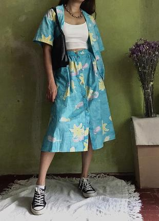 Костюм тройка винтажный винтаж юбка ретро рубашка шорты