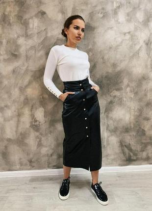 Шикарная кожаная чёрная юбка