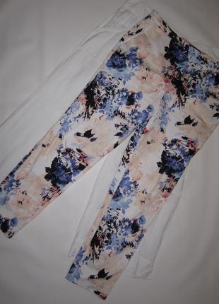 Роскошные зауженные брюки яркий цветочный принт