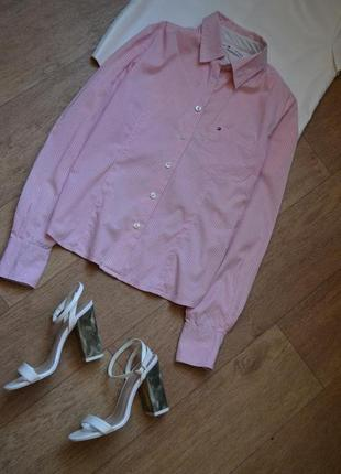 Tommy hilfiger оригинал розовая рубашка в клетку в клеточку стильная нежная томми
