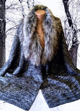 Новое легкое серое пальто atmosphere, манто с меховым  воротником на все размеры