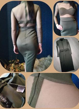 Брендовое платья хаки