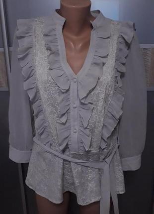 Кружевная блуза с рюшами