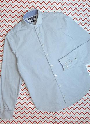 😉1+1=3 брендовая мужская рубашка сорочка с длинным рукавом tommy hilfiger, размер 44 - 46