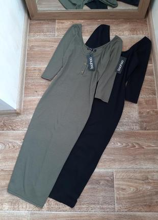 Черное и цвет хаки платье миди  boohoo