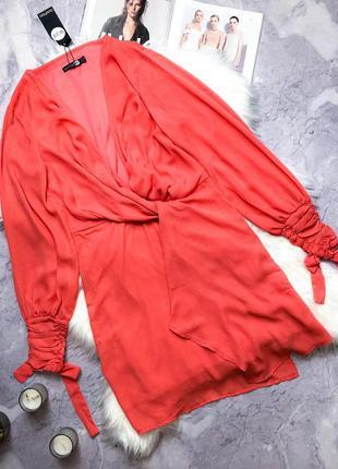 Новое с биркой шикарное персиковое шифоновое платье boohoo