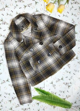 🌿1+1=3 шикарное шерстяное короткое пальто шерсть в клетку marks&spencer, размер 48 - 50