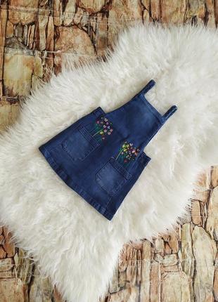 Джинсовый комбинезон сарафан платье для девочки