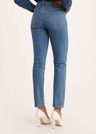 🎁1+1=3 фирменные женские зауженные синие джинсы levis, размер 46 - 48