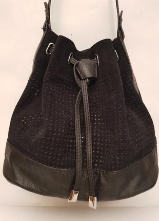 Супертендовая стильная сумка модель мешок итальянского бренда zign кожа+замш