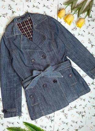 🌿1+1=3 стильное джинсовое двубортное пальто тренч на поясе демисезон, размер 46 - 48