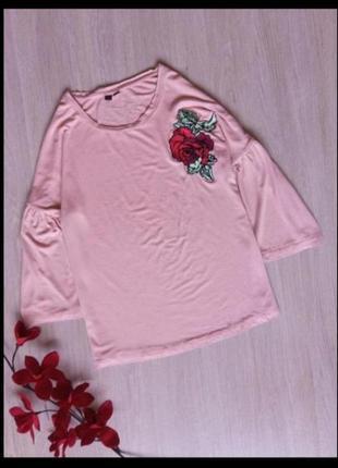 Кофта блуза блузка свитшот вышивка роза нашивка рукава воланы
