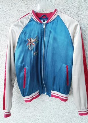 Утепленная куртка- ветровка,бомбер с вышивкой