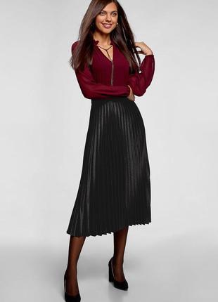 Чёрная трикотажная гофрированная юбка, 2xl.