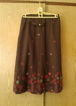 Катоновая коричневая юбка , xl.