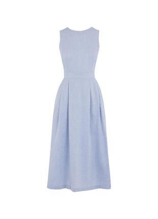 Оригинальное легкое натуральное платье миди warehouse