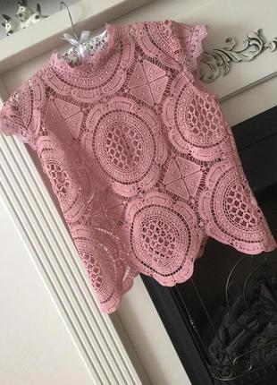 Ажурная блузка топ футболка цвета пыльная роза р. с/м (36/38)