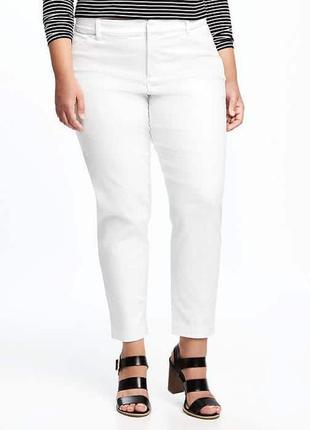 Большой размер! шикарные укороченые белые джинсы брюки чинос casa blanca р. 50-52 (44)