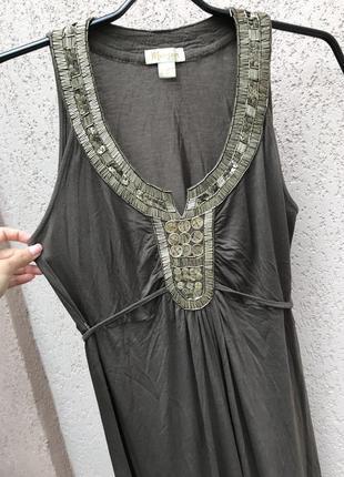 Платье в турецком стиле, сарафан в пол, сарафан вышитый , хаки для беременных сарафан