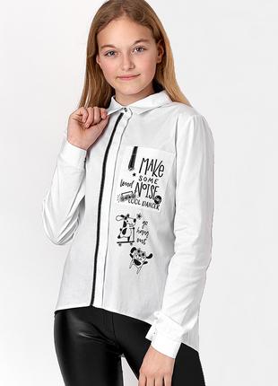 Стильная белая блуза для девочки 10-14 лет.