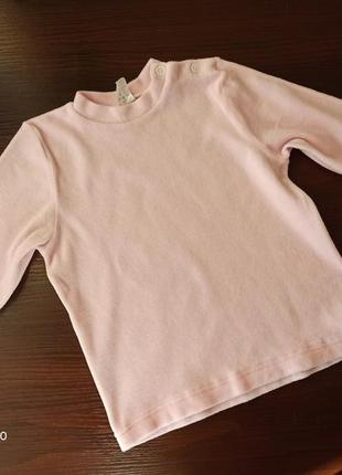 Плюшевый регланчик нежно-розового цвета на рост 86