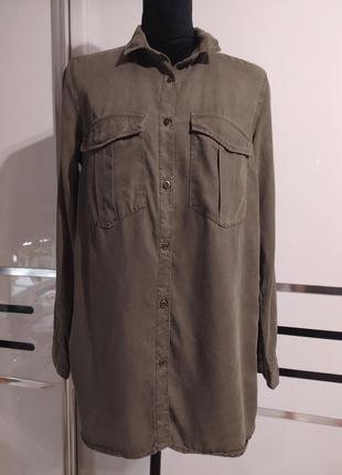 Новая рубашка оверсайз с накладными карманами хаки