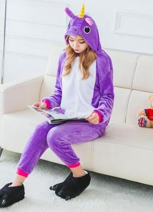 Кигуруми костюм комбинезон единорог фиолетовый