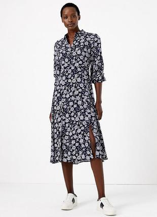 Платье-рубашка, платье миди в цветочный принт