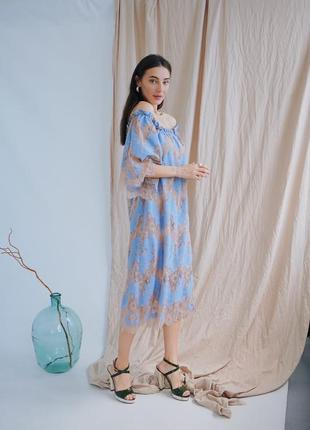 Платье кружево миди под пояс платье с вкраплениями