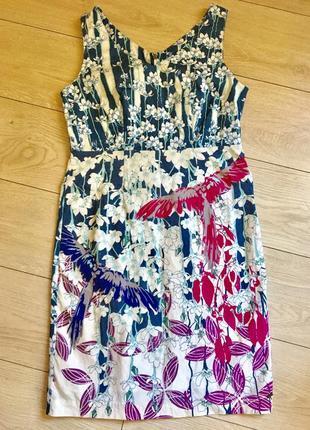 Платье хлопок хлопковое коттон натуральное миди футляр летнее сарафан птицы