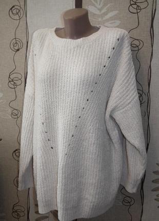Теплый белый свитер f&f,р.22