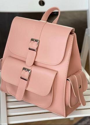Стильный женский рюкзак пудра с карманами
