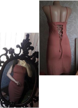 Платье в обтяжку рубчик облегающее