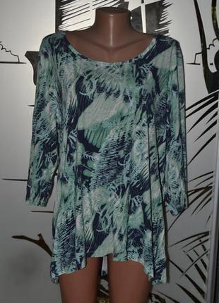 Стильная вискозная футболка lineplus-дания- бохо стиль-интересного кроя-пог67+