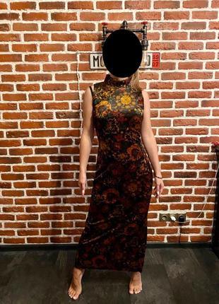 Длинное японское платье с горлышком