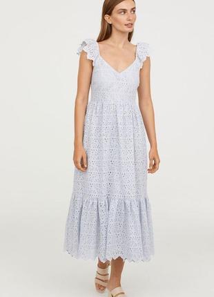 H&m платье с прошвы миди, s-m