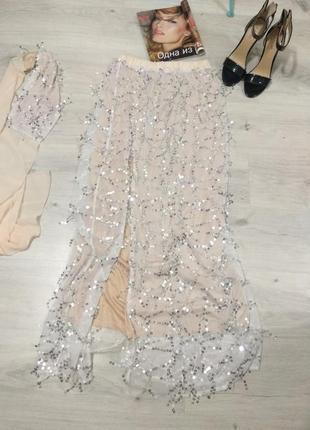 Шикарная блестящая юбка в пол. юбка платье с шарфом.