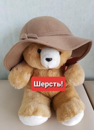 Шерстяная шляпа бежевая шляпка фетровая натуральная шерсть