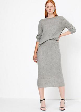 Мягкий кашемировый костюм рельефной вязки, кашемировая юбка+джемпер autograph