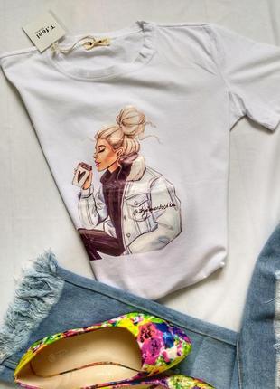 Sale!!! женская футболка белая с принтом. стильная, качественная