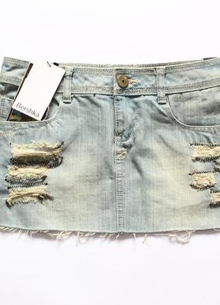 Джинсовая мини юбка bershka