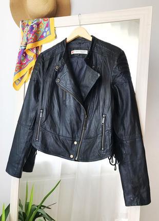 Шкіряна косуха куртка великого розміру