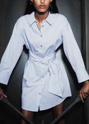 Zara 2020- платье- рубашка, действующая коллекция