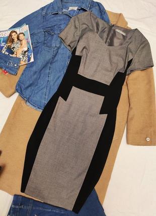 Комбинированное классическое платье серое чёрное миди футляр карандаш marks spenser