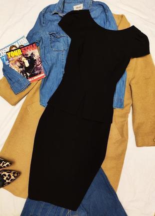F&f платье чёрное миди с баской классическое футляр карандаш