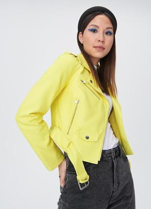 Куртка косуха канареечного цвета sinsay